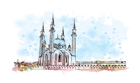 Building view with landmark of Kazan is the capital and largest city of the Republic of Tatarstan in Russia. Watercolor splash with hand drawn sketch illustration in vector.