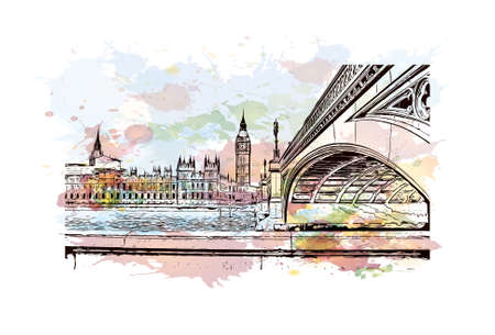 Building view with landmark of London is the capital and largest city of England and the United Kingdom. Watercolor splash with hand drawn sketch illustration in vector.