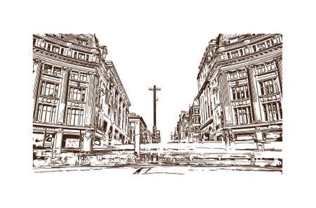 Building view with landmark of London is the capital and largest city of England and the United Kingdom. Hand drawn sketch illustration in vector.