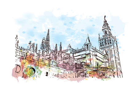 Building view with landmark of Sevilla is a Spanish professional football club based in Seville. Watercolor splash with hand drawn sketch illustration in vector.