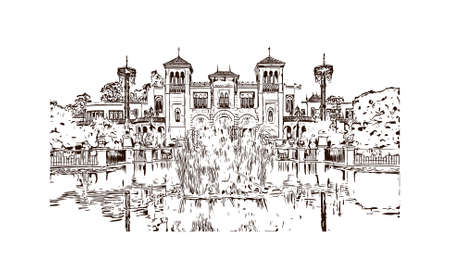 Building view with landmark of Sevilla is a Spanish professional football club based in Seville. Hand drawn sketch illustration in vector. Vettoriali