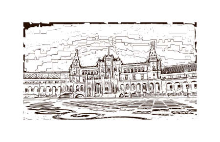 Building view with landmark of Sevilla is a Spanish professional football club based in Seville. Hand drawn sketch illustration in vector.
