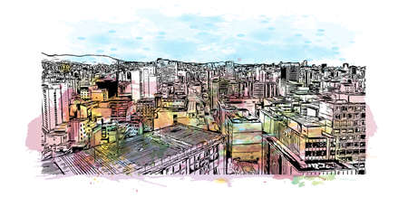 Building view with landmark of Belo Horizonte is the capital city of southeastern Brazil. Watercolor splash with hand drawn sketch illustration in vector. 向量圖像