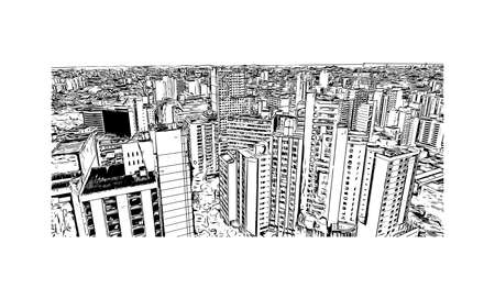 Building view with landmark of Belo Horizonte is the capital city of southeastern Brazil. Hand drawn sketch illustration in vector.