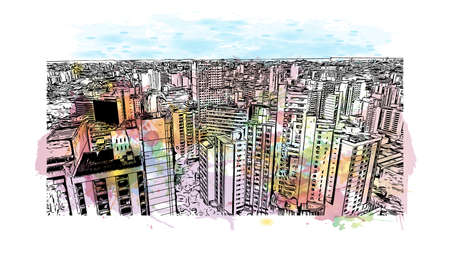 Building view with landmark of Belo Horizonte is the capital city of southeastern Brazil. Watercolor splash with hand drawn sketch illustration in vector. Illustration