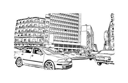 Building view with landmark of Damascus is the capital of Syria. Hand drawn sketch illustration in vector. Vecteurs