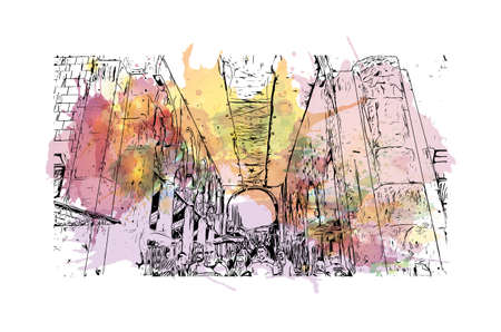 Building view with landmark of Damascus is the capital of Syria. Watercolour splash with hand drawn sketch illustration in vector.