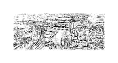 Building view with landmark of Brescia is the city in Italy. Hand drawn sketch illustration in vector.