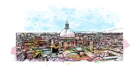 Building view with landmark of Brescia is the city in Italy. watercolour splash with hand drawn sketch illustration in vector.