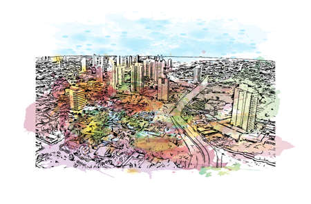 Building view with landmark of Campo Grande is a city in west central Brazil. Watercolor splash with hand drawn sketch illustration in vector. 向量圖像