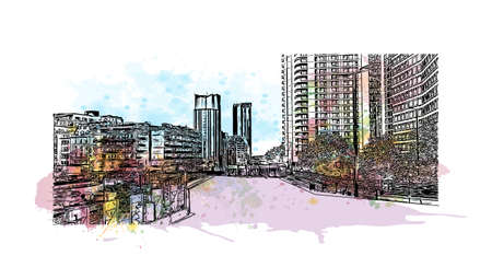 Building view with landmark of Birmingham is a major city in England. Watercolour splash with hand drawn sketch illustration in vector.