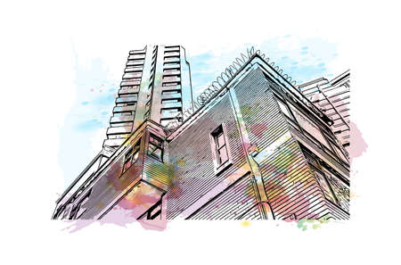Building view with landmark of Bogota is the capital of Colombia. Watercolour splash with hand drawn sketch illustration in vector.