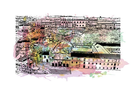 Building view with landmark of Coimbra is the  city in Portugal. Watercolor splash with hand drawn sketch illustration in vector.