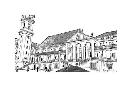 Building view with landmark of Coimbra is the city in Portugal. Hand drawn sketch illustration in vector. Ilustrace
