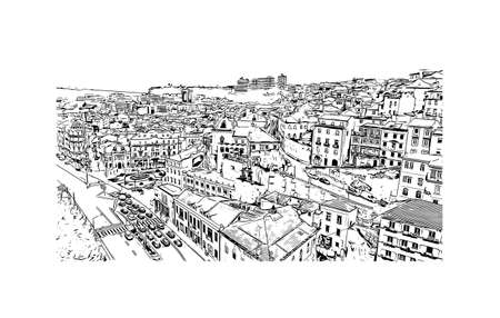 Building view with landmark of Coimbra is the city in Portugal. Hand drawn sketch illustration in vector.