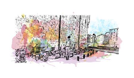Building view with landmark of Bilbao is the city in Spain. Watercolor splash with hand drawn sketch illustration in vector. Ilustración de vector