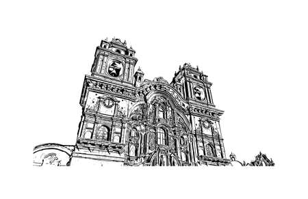 Building view with landmark of Cusco is the city in Peru. Hand drawn sketch illustration in vector.