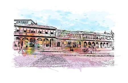 Building view with landmark of Cusco is the city in Peru. Watercolor splash with hand drawn sketch illustration in vector.