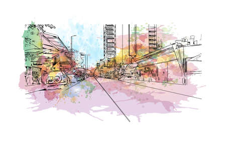 Building view with landmark of Darwin is the city in Australia. Watercolour splash with hand drawn sketch illustration in vector.