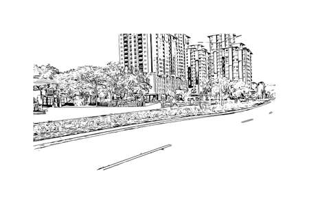 Building view with landmark of Darwin is the city in Australia. Hand drawn sketch illustration in vector.