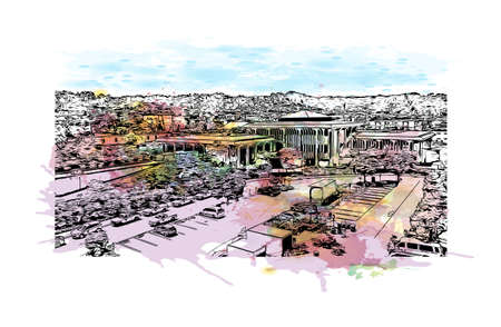 Building view with landmark of Daly City is the most populous city in California. Watercolour splash with hand drawn sketch illustration in vector.