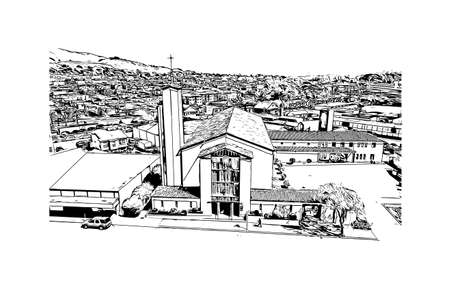 Building view with landmark of Daly City is the most populous city in California. Hand drawn sketch illustration in vector.
