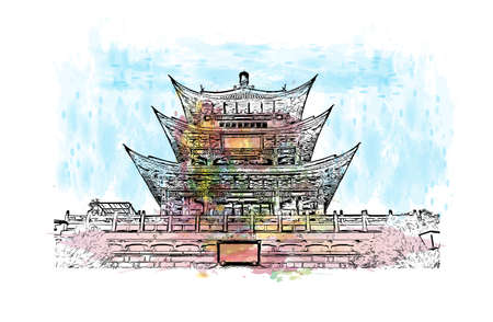 Building view with landmark of Dali is a city in China. Watercolour splash with hand drawn sketch illustration in vector.