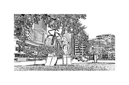 Building view with landmark of Denver is the capital of Colorado. Hand drawn sketch illustration in vector.