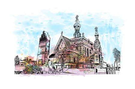 Building view with landmark of Darmstadt is a city near Frankfurt in southwest Germany. Watercolour splash with hand drawn sketch illustration in vector. Vektoros illusztráció