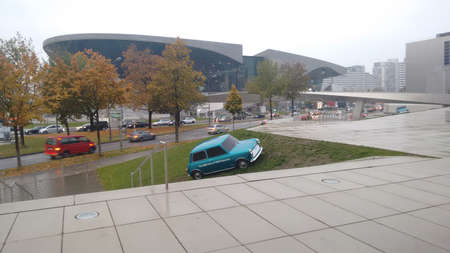 cooper: Europe Germany Munich BMW Welt building museum view mini cooper Editorial