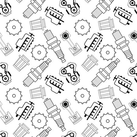 seamless vector graphic pattern of automobile spare parts. line pattern of gasoline engine, exhaust, gear, spark plug, filter and piston.