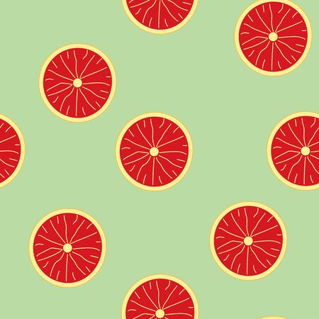 seamless summer pattern with grapefruit on soft green background. tropical grapefruit slice pattern.