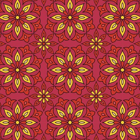 oriental Geometrical seamless pattern. floral pattern illustration. red and yellow flower pattern on red background. ethnic pattern in indian, arabic, turkish style for fabric, textile, fashion