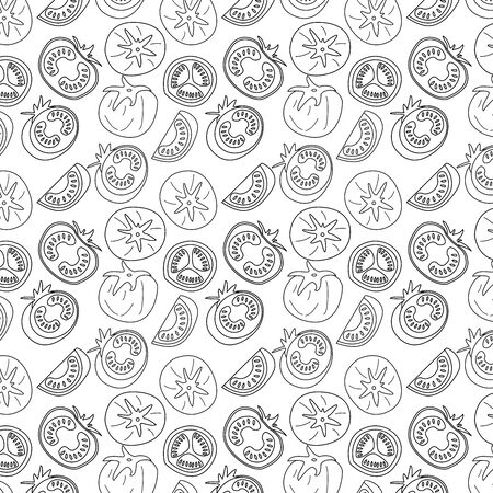 hand drawn tomatoes linear outline seamless pattern on white background. background for textiles, banner, wrapping paper, print, quilt and other product.