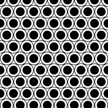 black and white seamless geometric circle background texture.