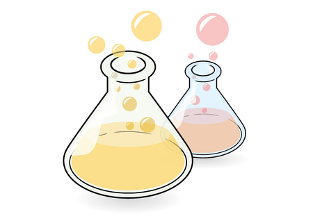 dilute: Two difference color of conical flask with liquid inside  Illustration