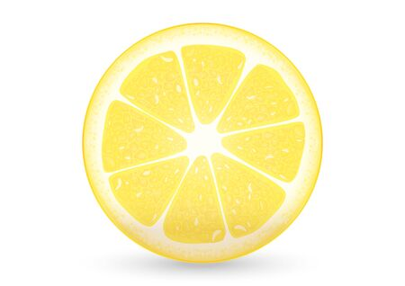 ascent: A piece of sliced lemon, yellow, great ascent and taste sour  Illustration