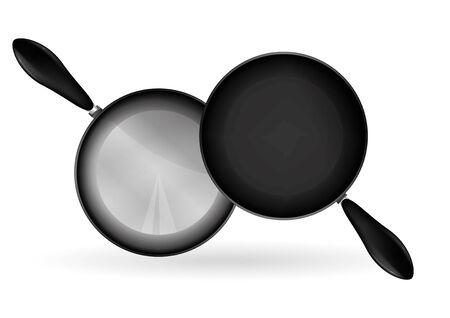 technic: A teflon frying pan illustration, metalic and real shading with drawing technic. Illustration