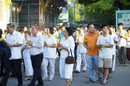 rite: Bhuddists are praying and doing rite on Magha Puja Day, Febuary 14, 2014 in Yala, Thailand
