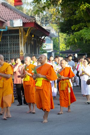 puja: Bhuddists are praying and doing rite on Magha Puja Day, Febuary 14, 2014 in Yala, Thailand