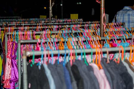 handed: A second handed clothes shop in Thai urban village market on March 6, 2014 in Nakornsrithammarat, Thailand.