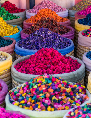 Multicolored dried flowers on sale in the souks of Marrakeshs medina in Morocco 스톡 콘텐츠