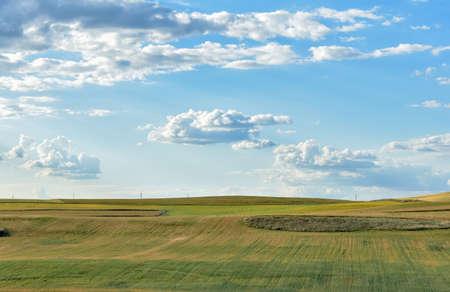 Farmland with blue and cloudy sky, Salamanca, Spain