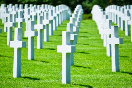 Amerykański Cmentarz i Pomnik w Normandii, Colleville-sur-Mer, Normandia, Francja. Zdjęcie Seryjne