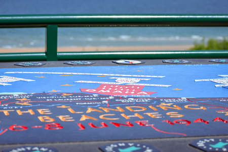 Commemorative and explanatory map of the battle of the Normandy landings in the Second World War. Omaha Beach, French Normandy.