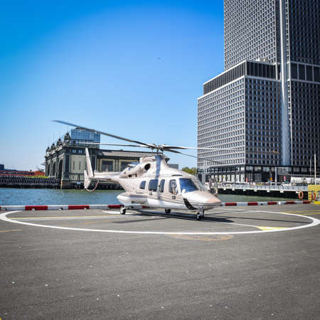 Luxury helicopter ready to take off. NYC, USA