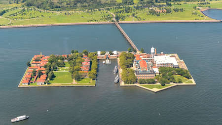 Aerial view of Ellis Island, NYC.