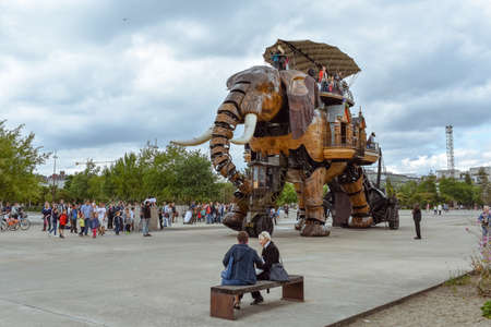 NANTES, FRANCE - JULY 1, 2017: The Machines of the Isle of Nantes (Les Machines de l'île) is an artistic, touristic and cultural project based in Nantes, France. Summer Fun for children and adults.