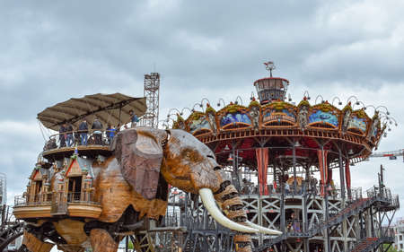 NANTES, FRANCE - JULY 1, 2017: The Machines of the Isle of Nantes (Les Machines de l'île) is an artistic, touristic and cultural project based in Nantes, France. Summer Fun for children and adults. Editorial