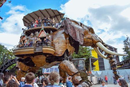 NANTES, FRANCE - JULY 1, 2017: The Machines of the Isle of Nantes (Les Machines de lîle) is an artistic, touristic and cultural project based in Nantes, France. Summer Fun for children and adults. Redactioneel